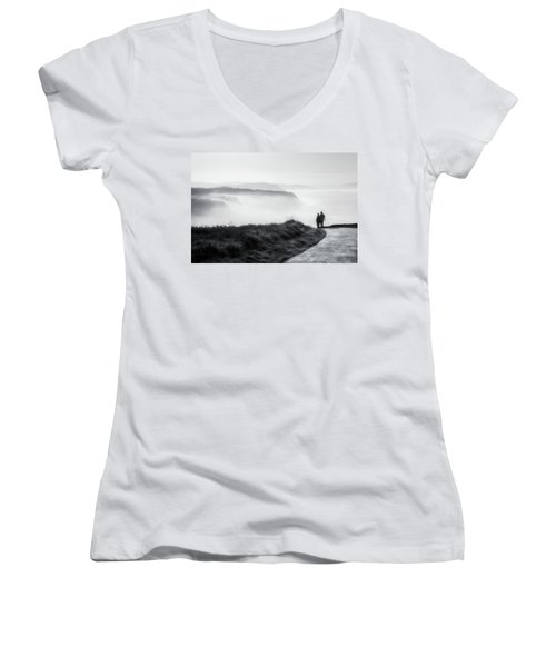 Morning Walk With Sea Mist Women's V-Neck