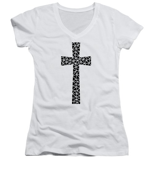 Mosaic Cross Transparent Women's V-Neck (Athletic Fit)