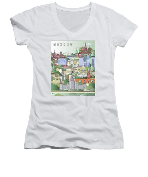 Moscow City Poster Women's V-Neck T-Shirt (Junior Cut) by Pablo Romero