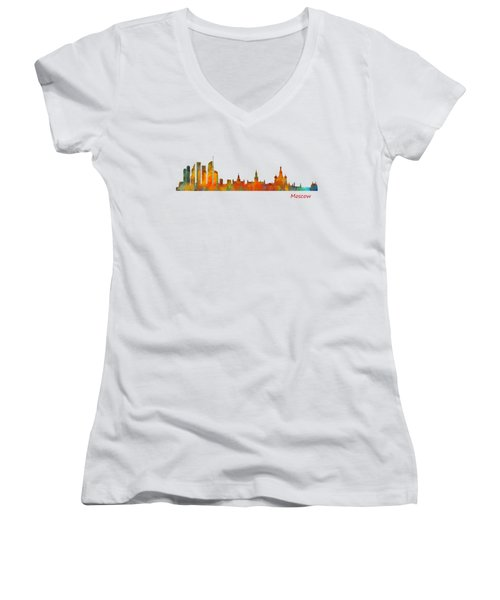 Moscow City Skyline Hq V1 Women's V-Neck T-Shirt (Junior Cut) by HQ Photo