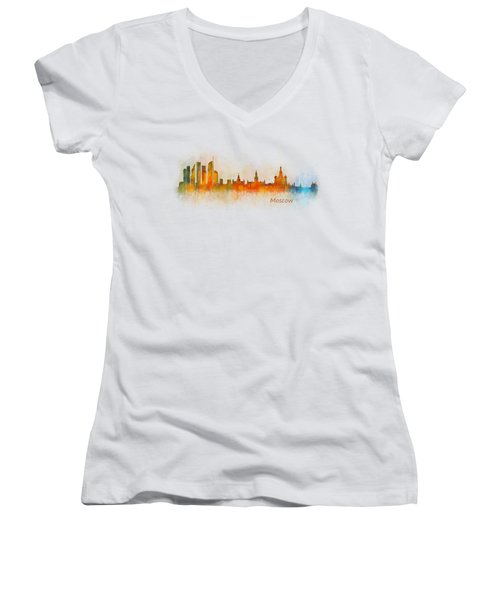 Moscow City Skyline Hq V3 Women's V-Neck T-Shirt (Junior Cut) by HQ Photo