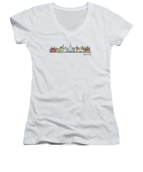 Moscow Skyline Colored Women's V-Neck T-Shirt (Junior Cut) by Pablo Romero