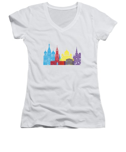 Moscow Skyline Pop Women's V-Neck T-Shirt (Junior Cut) by Pablo Romero