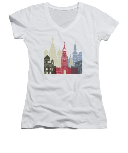Moscow Skyline Poster Women's V-Neck T-Shirt (Junior Cut) by Pablo Romero