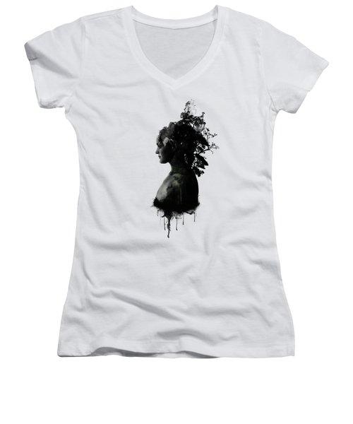 Mother Earth Women's V-Neck T-Shirt (Junior Cut) by Nicklas Gustafsson