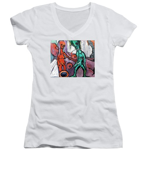 Women's V-Neck T-Shirt (Junior Cut) featuring the painting Mother-giant--offspring by Kenneth Agnello