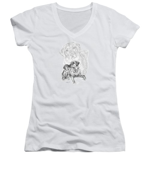 Mother Labrador Dog And Puppy Women's V-Neck T-Shirt (Junior Cut) by Kelli Swan
