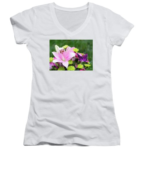 Mother's Day Bouquet  Women's V-Neck (Athletic Fit)