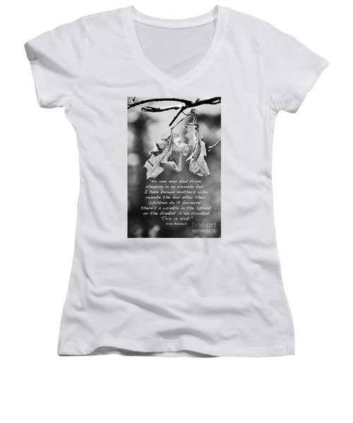 Women's V-Neck T-Shirt (Junior Cut) featuring the photograph Mother's Day Saying by Debby Pueschel