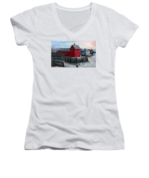 Motif No.1 Women's V-Neck T-Shirt (Junior Cut) by Eileen Patten Oliver