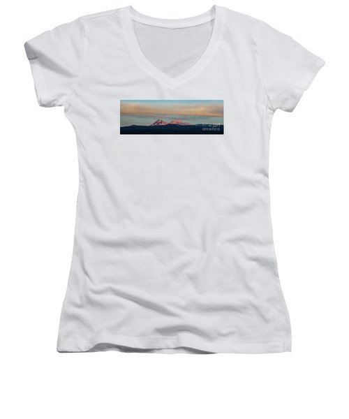 Mount Aragats, The Highest Mountain Of Armenia, At Sunset Under Beautiful Clouds Women's V-Neck T-Shirt