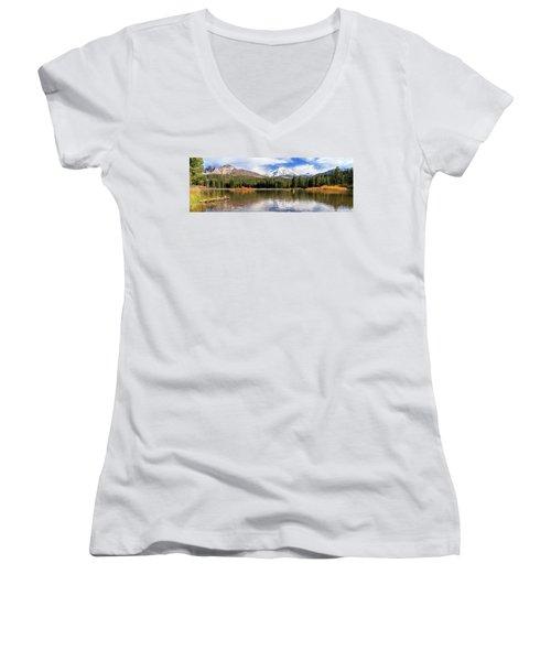 Mount Lassen Autumn Panorama Women's V-Neck T-Shirt (Junior Cut) by James Eddy