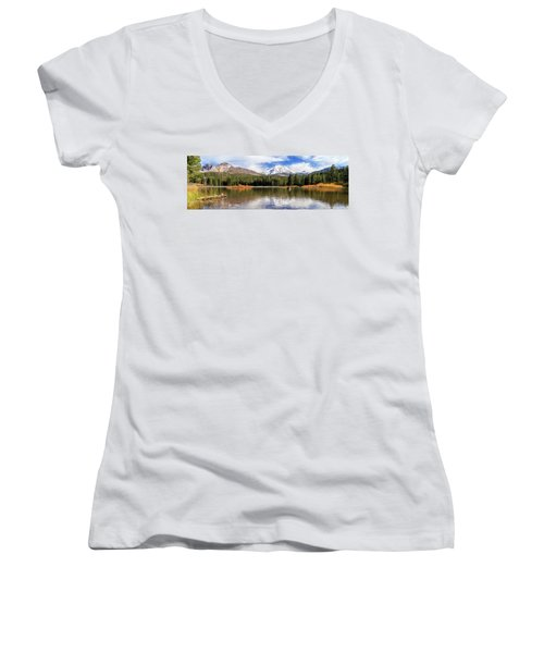 Women's V-Neck T-Shirt featuring the photograph Mount Lassen Autumn Panorama by James Eddy