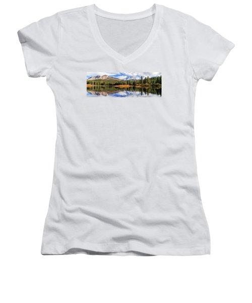 Mount Lassen Reflections Panorama Women's V-Neck T-Shirt (Junior Cut) by James Eddy