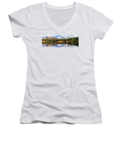 Mount Lassen Reflections Panorama Women's V-Neck