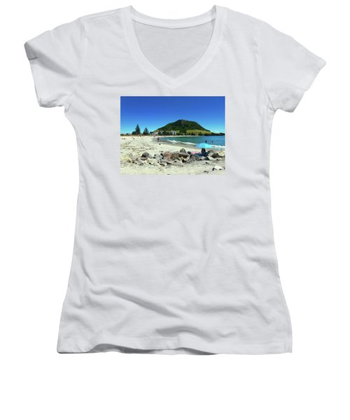 Mount Maunganui Beach 1 - Tauranga New Zealand Women's V-Neck T-Shirt (Junior Cut) by Selena Boron