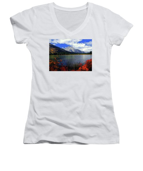 Women's V-Neck T-Shirt (Junior Cut) featuring the photograph Mount Moran In The Fall by Raymond Salani III