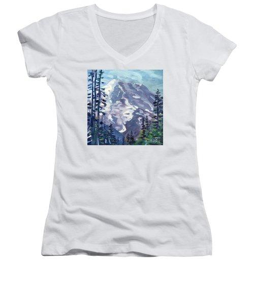 Mount Rainier From Sunrise Point Women's V-Neck T-Shirt (Junior Cut) by Donald Maier
