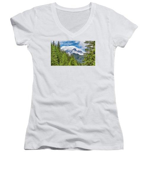 Women's V-Neck T-Shirt (Junior Cut) featuring the photograph Mount Rainier View by Stephen Stookey