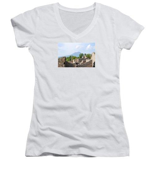 Mount Vesuvius Beyond The Ruins Of Pompei Women's V-Neck T-Shirt (Junior Cut) by Allan Levin
