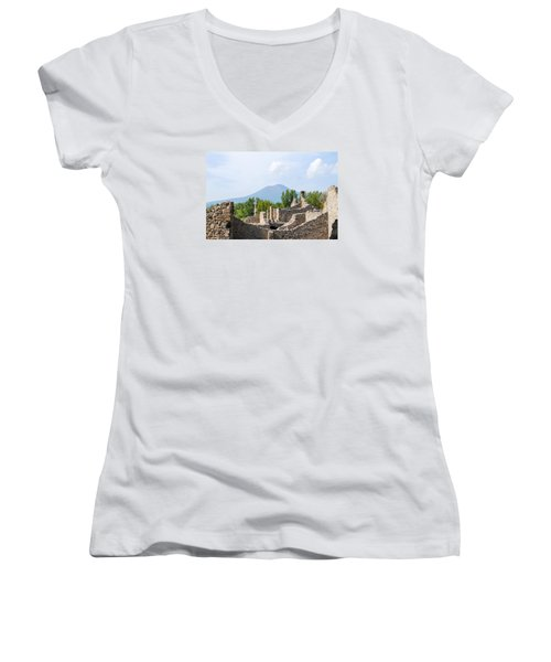 Mount Vesuvius Beyond The Ruins Of Pompei Women's V-Neck T-Shirt