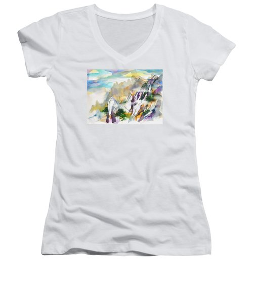 Mountain Awe #2 Women's V-Neck (Athletic Fit)