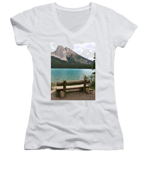 Mountain Calm Women's V-Neck T-Shirt (Junior Cut) by Catherine Alfidi