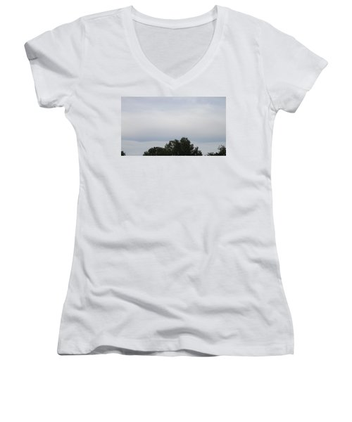 Mountain Clouds 3 Women's V-Neck T-Shirt (Junior Cut) by Don Koester