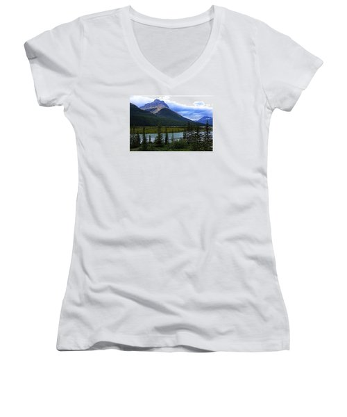 Mountain High Women's V-Neck T-Shirt (Junior Cut) by Heather Vopni