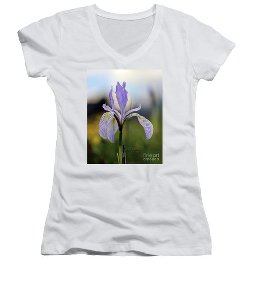 Mountain Iris With Bud Women's V-Neck