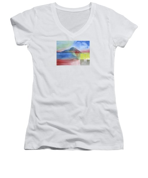 Women's V-Neck T-Shirt (Junior Cut) featuring the painting Just Before The Rain by Frank Bright