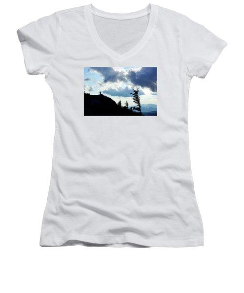 Women's V-Neck T-Shirt (Junior Cut) featuring the photograph Mountain Peak by Meta Gatschenberger