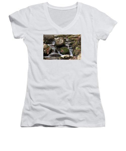 Women's V-Neck T-Shirt (Junior Cut) featuring the photograph Mountain Stream Through Rocks by Emanuel Tanjala