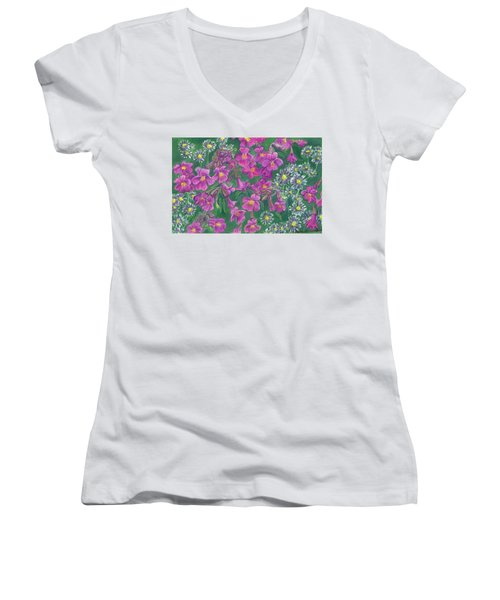 Women's V-Neck T-Shirt (Junior Cut) featuring the drawing Mountain Wild Flowers by Dawn Senior-Trask