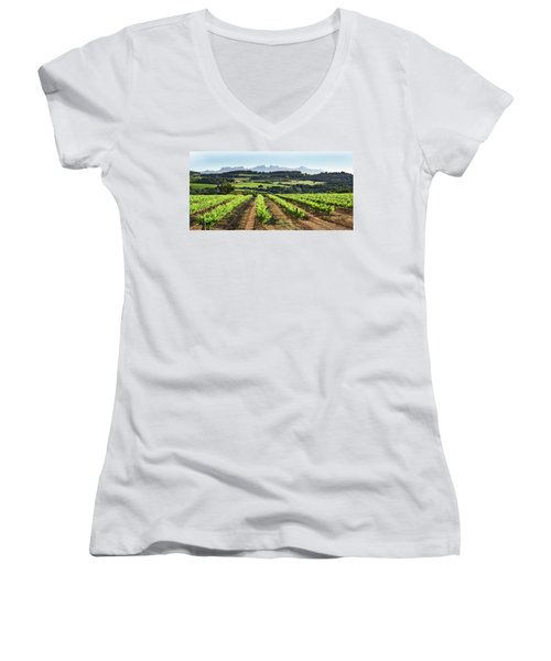 Women's V-Neck T-Shirt (Junior Cut) featuring the mixed media Mountains Of Montserrat Catalunya by Gina Dsgn