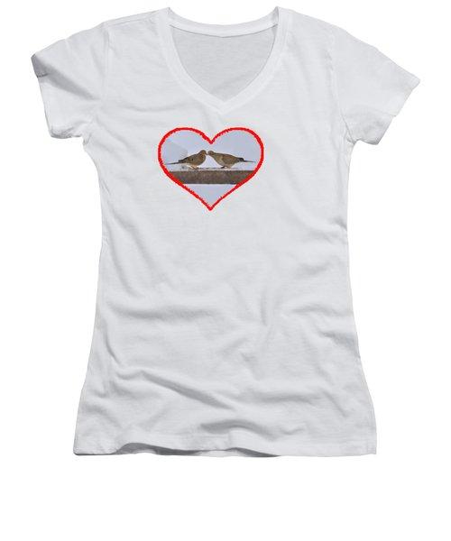 Mourning Doves Kissing Women's V-Neck T-Shirt (Junior Cut) by Dan Friend