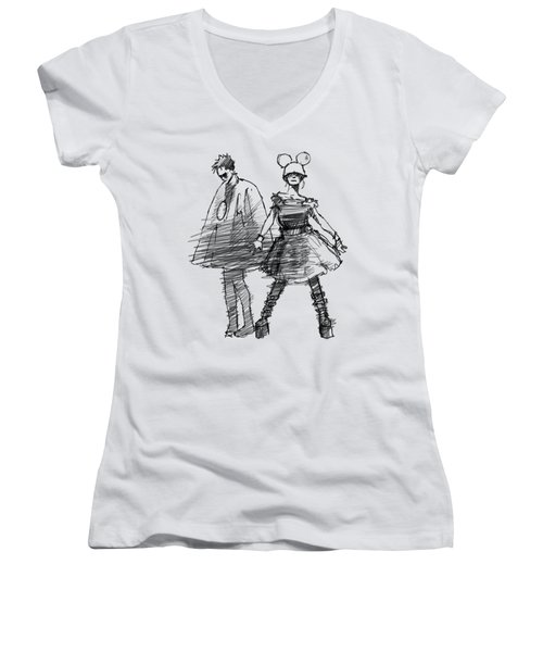 Mouse And Morse Women's V-Neck T-Shirt (Junior Cut) by H James Hoff