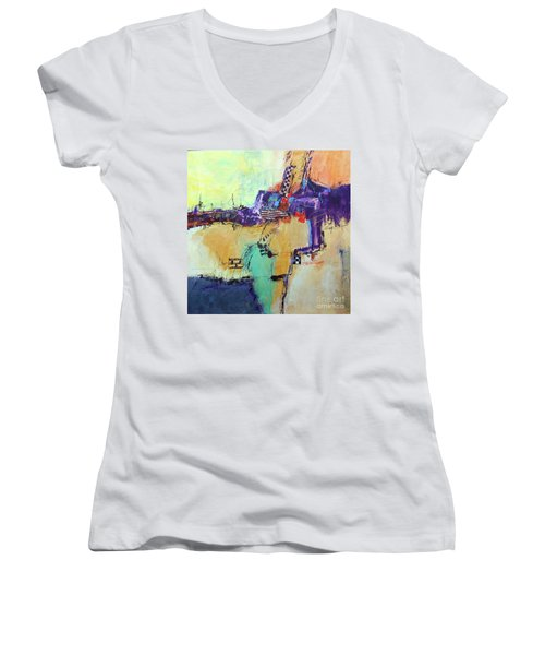 Movin' Left Women's V-Neck T-Shirt (Junior Cut) by Ron Stephens