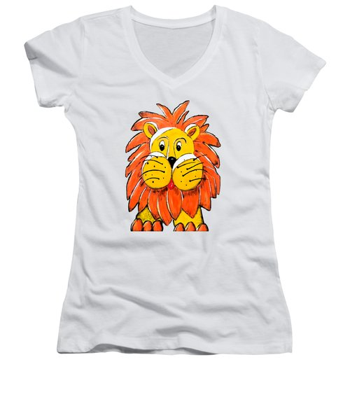 Mr. Lion Women's V-Neck T-Shirt (Junior Cut) by Tami Dalton
