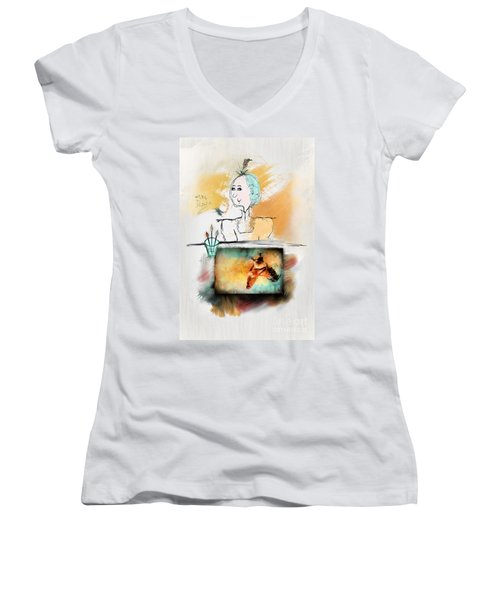 Mrs. Darwin's Theory Of Evolution Self Portrait  Women's V-Neck