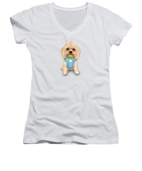 Mr.toby Waffles Women's V-Neck T-Shirt (Junior Cut) by Catia Cho