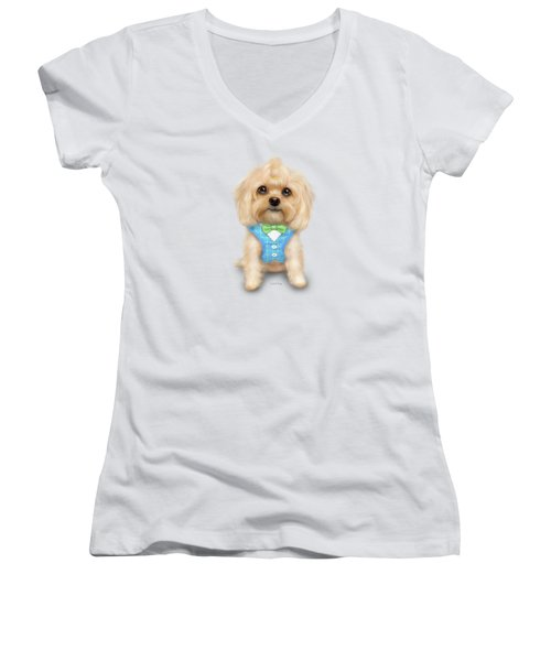 Mr.toby Waffles Women's V-Neck (Athletic Fit)