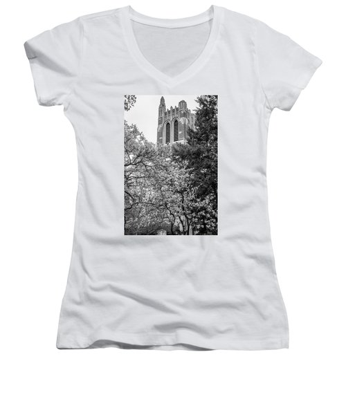 Msu Beaumont Tower Black And White 3 Women's V-Neck