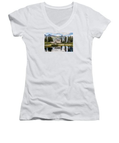 Mt Baker Lodge In Picture Lake 1 Women's V-Neck T-Shirt (Junior Cut) by Rob Green