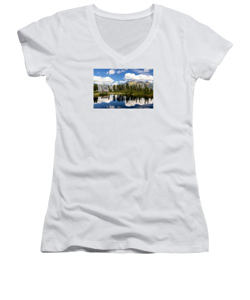 Mt Baker Lodge Reflection In Picture Lake 2 Women's V-Neck T-Shirt (Junior Cut) by Rob Green