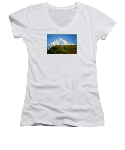 Mt Hood In Winter Women's V-Neck T-Shirt (Junior Cut) by Albert Seger