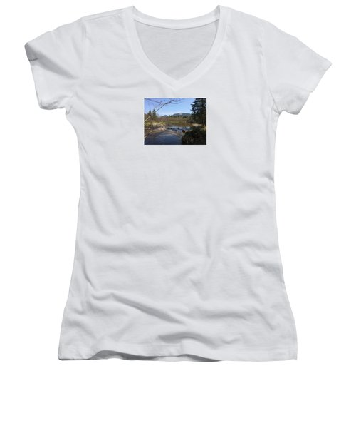 Mt. Katahdin Women's V-Neck T-Shirt (Junior Cut) by Robin Regan