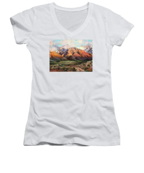 Women's V-Neck featuring the painting Mt Nebo Range by Steve Henderson