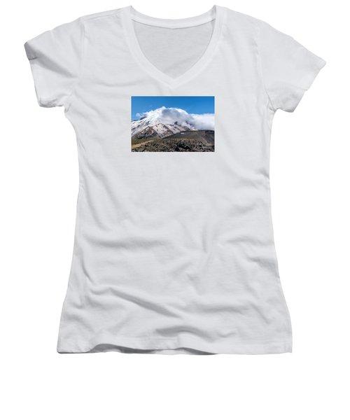 Mt Rainier In The Clouds Women's V-Neck T-Shirt (Junior Cut) by Sharon Seaward