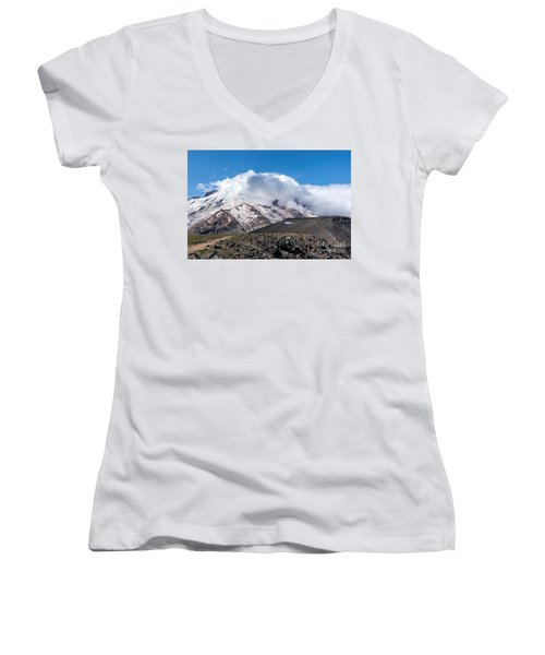 Mt Rainier In The Clouds Women's V-Neck